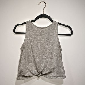 Charlotte Russe knot tie crop gray tank top